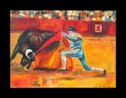 tableau scene de genre corrida torero matador tauromachie : De rodilla
