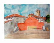 tableau architecture pays basque fronton pelote basque urrugne : Le fronton d'URRUGNE