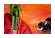 tableau animaux matador toro corrida espagne : matador de toro