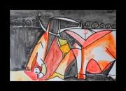 tableau scene de genre toro corrida picasso espagne : Hommage à Pablo