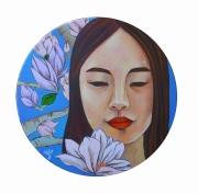 tableau personnages fille fleur asiatique portrait : portrait de Mengdi