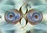 art numerique abstrait yeux hibou fractale filaments : Beyla