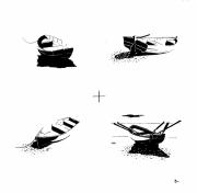 tableau marine barque mer plage bateau : Quatre barques sur une plage