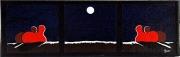 tableau abstrait ciel meditation abstraction peinture moderne : Deux couples sous Dame Lune