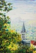 tableau paysages village campagne chaine des puys eglise : Eglise d'Authezat-Puy de Dôme en Auvergne
