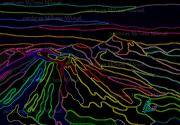 """art numerique paysages montagnes auvergne volcans peinture numerique : Chaîne des Puys """"Néons""""-Peinture numérique sur toile 60cm x 40cm"""