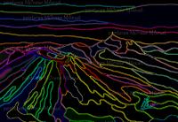 """Chaîne des Puys """"Néons""""-Peinture numérique sur toile 60cm x 40cm"""