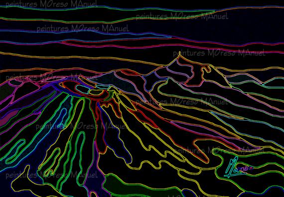 """ART NUMéRIQUE montagnes Auvergne volcans peinture numérique Paysages  - Chaîne des Puys """"Néons""""-Peinture numérique sur toile 60cm x 40cm"""