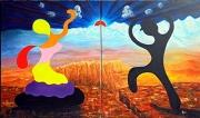 tableau personnages flamenco danse espagne couple : Marionnettes Flamenco