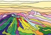 art numerique paysages multicolre chaine des puys auvergne puy de dome : Chaîne des Puys 100 tons vifs - Peinture numérique sur toile 60c