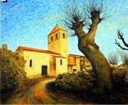tableau paysages eglise village campagne auvergne : Eglise de Chalus dans le Puy de Dôme