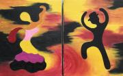 tableau personnages flamenco espagne danse tableau moderne : Ensemble flamenco 2