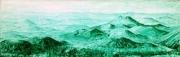 tableau paysages tableau panoramique peinture monochrome volcans auvergne : Chaîne des Puys 21