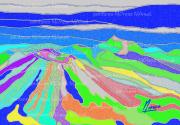 """art numerique paysages volcans art numerique art contemporain montagnes : Chaîne des Puys """"Poussières""""- Peinture numérique sur toile 60cm"""
