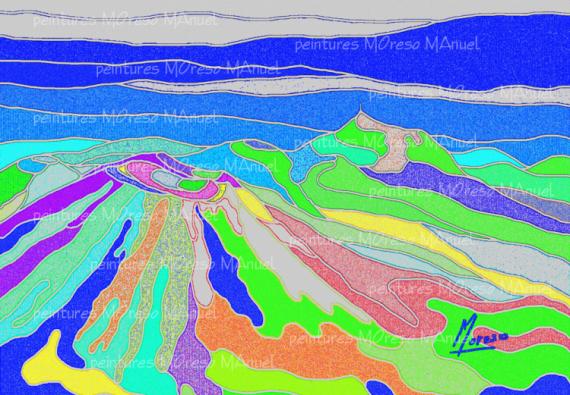 """ART NUMéRIQUE volcans art numérique art contemporain montagnes Paysages  - Chaîne des Puys """"Poussières""""- Peinture numérique sur toile 60cm"""