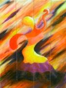 tableau personnages flamenco danse multicolore espagne : Danseuse de flamenco 1
