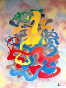 tableau abstrait pensee peinture abstraite technique pochoirs tableau contemporain : Pensées