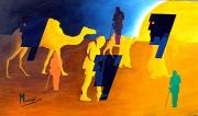 tableau personnages hommage desert sable tableau mystique : Théodore Monod