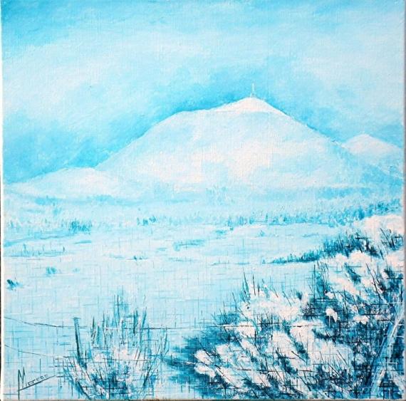 TABLEAU PEINTURE tableau monochrome b montagne Auvergne volcan Paysages Acrylique  - Chaîne des Puys 26