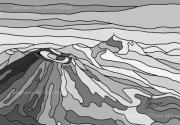 art numerique paysages volcans auvergne art numerique monochrome : Chaîne des Puys 101 Noir et Blanc-Peinture numérique sur toile 6