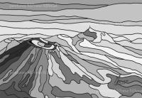 Chaîne des Puys 101 Noir et Blanc-Peinture numérique sur toile 6