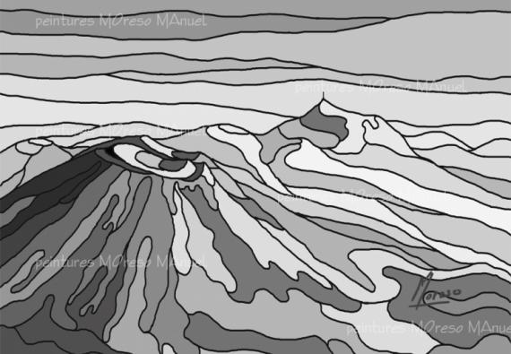 ART NUMéRIQUE volcans Auvergne art numérique monochrome Paysages  - Chaîne des Puys 101 Noir et Blanc-Peinture numérique sur toile 6