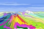 """art numerique paysages volcans montagnes lumiere multicolore : Chaîne des Puys """"Aplats 2""""-Fichier numérique-"""