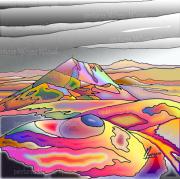 """art numerique paysages volcans auvergne chaine des puys puy de dome : Chaîne des Puys """"Multicolore"""" - Peinture numérique sur toile 50c"""
