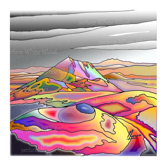 """ART NUMéRIQUE volcans Auvergne Chaine des Puys Puy de Dôme Paysages  - Chaîne des Puys """"Multicolore"""" - Peinture numérique sur toile 50c"""