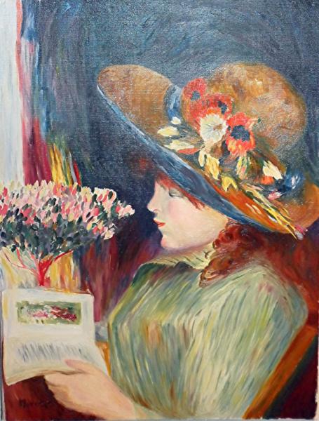 TABLEAU PEINTURE reproduction livre Auguste Renoir jeune fille Personnages Peinture a l'huile  - Reproduction de tableau -Fille lisant - d'après A. Renoir -