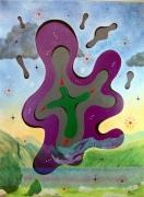 tableau autres christ paysage peinture mystique ecologie : Christ Vert