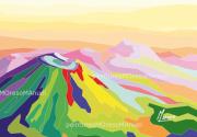 """art numerique paysages volcans montagnes lumiere multicolore : Chaîne des Puys """"Aplats 1"""" -Peinture numérique sur toile 60cm x"""