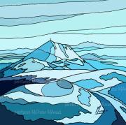 """art numerique paysages volcans auvergne chaine des puys puy de pariou : Chaîne des Puys """"Bleu turquoise"""" - Peinture numérique sur toile"""