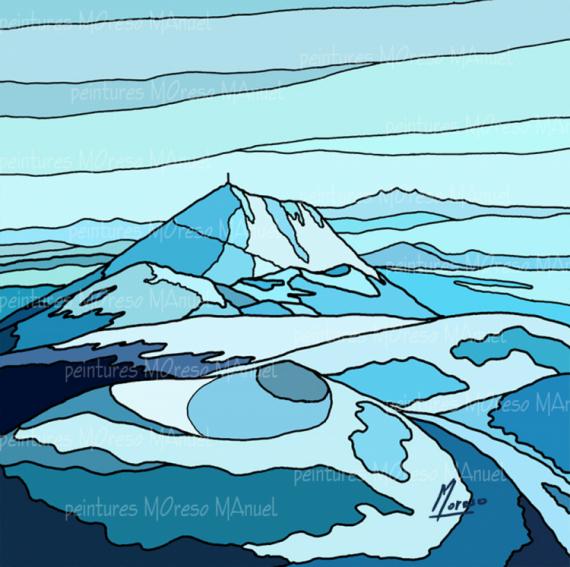 """ART NUMéRIQUE volcans Auvergne chaine des Puys puy de Pariou Paysages  - Chaîne des Puys """"Bleu turquoise"""" - Peinture numérique sur toile"""
