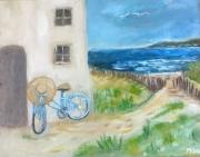 tableau marine bicyclette bleue mer phare : la bicyclette bleue!