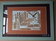 tableau paysages collage feuilles lignes abstrait : Tissage avec feuilles