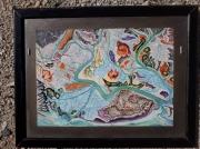 tableau abstrait fleuve nature couleurs chatoyant : Rencontre