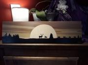 marquetry scene de genre foret animaux lune clair : scène de forêt