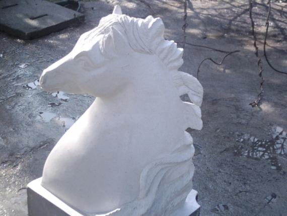 SCULPTURE cheval buste sculpture pierre Animaux Taille Pierre  - cheval