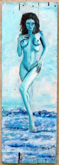 """""""nu bleu"""" peinture sur bois 82 X 28 Jf Gantner"""