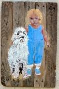 tableau personnages peinture sur bois enfant chien jf gantner : Deux copains peinture sur bois Jf Gantner