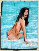 tableau nus : assise dans la mer