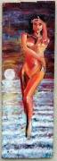 """autres nus nu coucher de soleil mer peinture sur bois : nu """"coucher de soleil"""""""