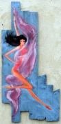 tableau nus danseuse nu bois voile : danseuse au voile rouge