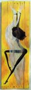 """autres nus nu danseuse voile bois de palette : """"danseuse au voile or et argent"""""""