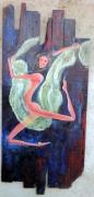 tableau nus danseuse nu bois voile : Danseuse au voile vert