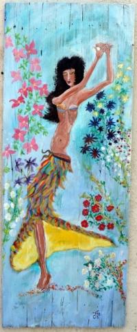 Danseuse aux fleurs peinture sur bois Jf Gantner