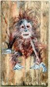 """bois marqueterie animaux peinture sur bois orang outan jf gantner animal : """"Bébé Orang Outang en danger"""" peinture sur bois 60 X 4"""