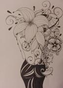 tableau personnages : Femme fleurs