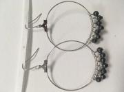 bijoux autres boucle perles creole gris : Boucles perles